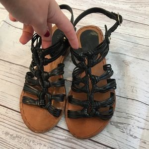 SEYCHELLES Black Strappy Knotted Sandals